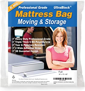 UltraBlock Mattress Bag for Moving, Storage or Disposal - Full Size Heavy Duty Triple Thick 6 Mil Tear and Puncture Resistant Bag with Two Extra Wide Adhesive Strips