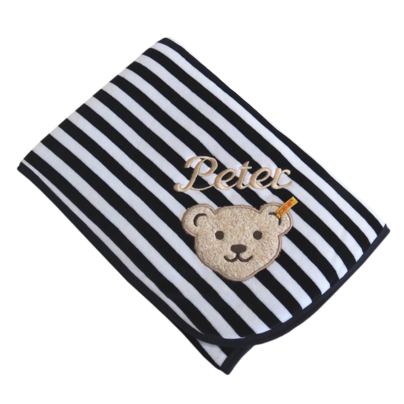 Babydecke mit Ihrem Wunsch Namen bestickt marine/weiß Steiff Collection 2890, 90 cm x 60 cm CSB Computer-Stickerei BO Teddys