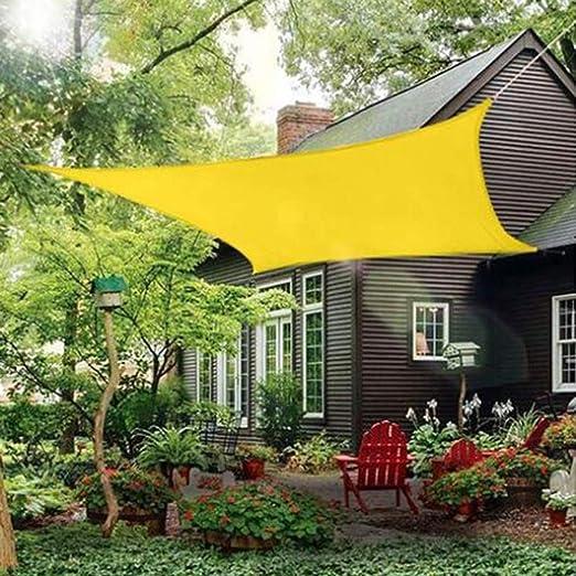 GuoWei Rectángulo Impermeable Velas de Sombra Dosel Toldo Tela Refugio 95% Bloqueo UV Intemperie Patio Jardín Cochera, Personalizar (Color : Yellow, Size : 3x3.5m): Amazon.es: Jardín