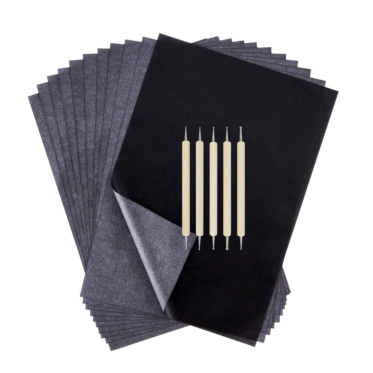 200 Sheets Transfer Tracing Paper Carbon Graphite Paper and 5 Pcs Embossing Styluses Stylus Dotting Tools for Paper, Metal, Glass, Carving, DIY Wood Burning Transfer Craft Suptee
