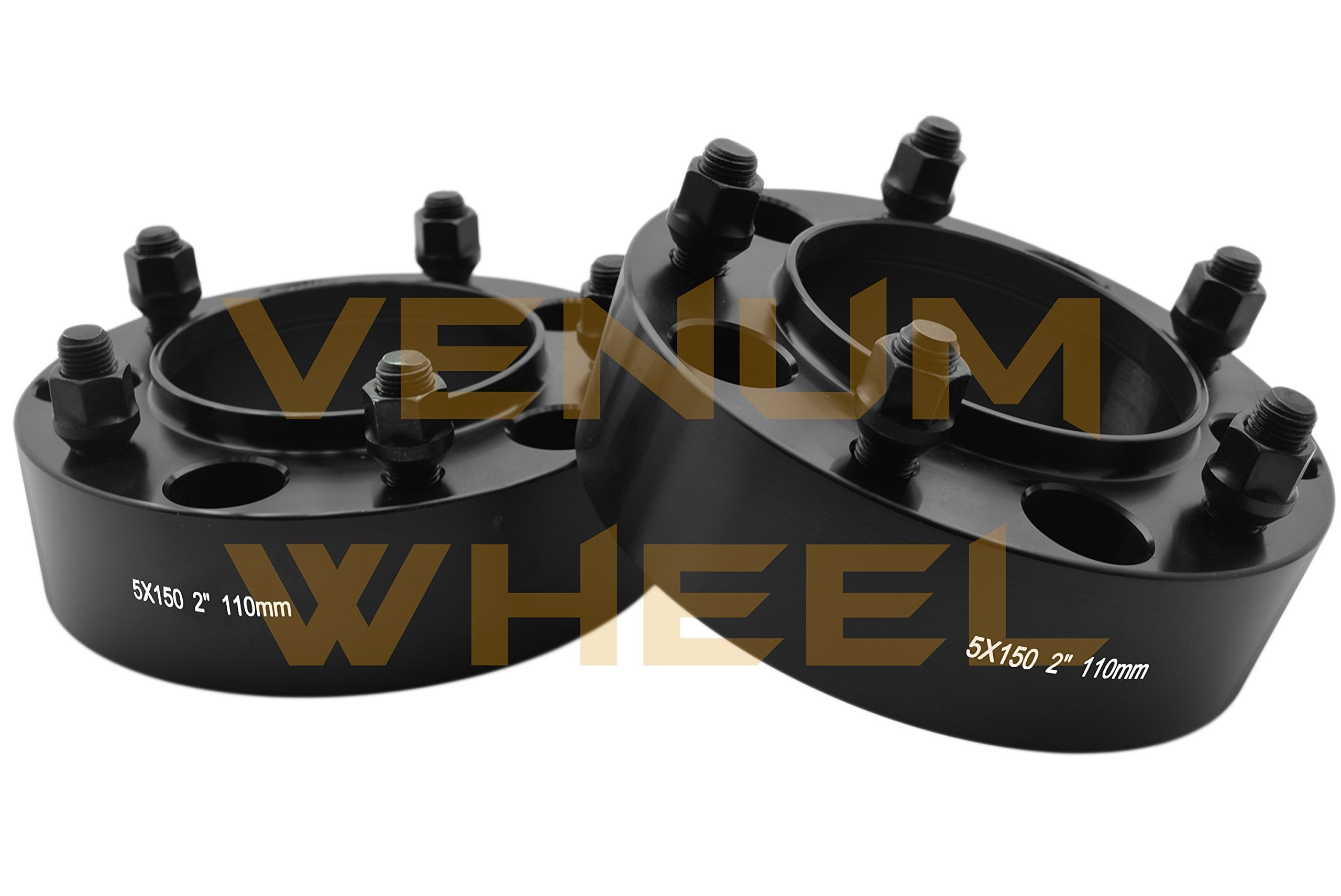 4 Pc 5x150 to 5x150 2'' Thick Black Hubcentric Wheel Spacers Adapter for Toyota Tundra 2007-2016 Hub Bore 110mm 14x1.5 Studs 6061 T6 Billet Aluminum (07-) Black by Venum wheel accessories (Image #2)