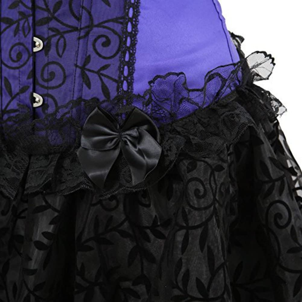Kelvry Womens Brocade Satin Gothic Boned Lace up Corset and Steampunk Bustiers Dress with Basque Skirt Clubwear
