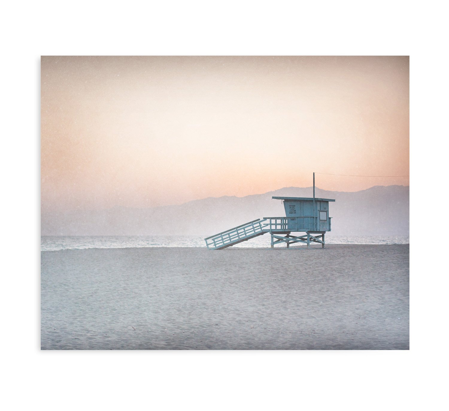 Large Format Prints, Canvas or Unframed, Pink Venice Beach Wall Art, California Coastal Decor Picture, 'Lifeguard Tower'