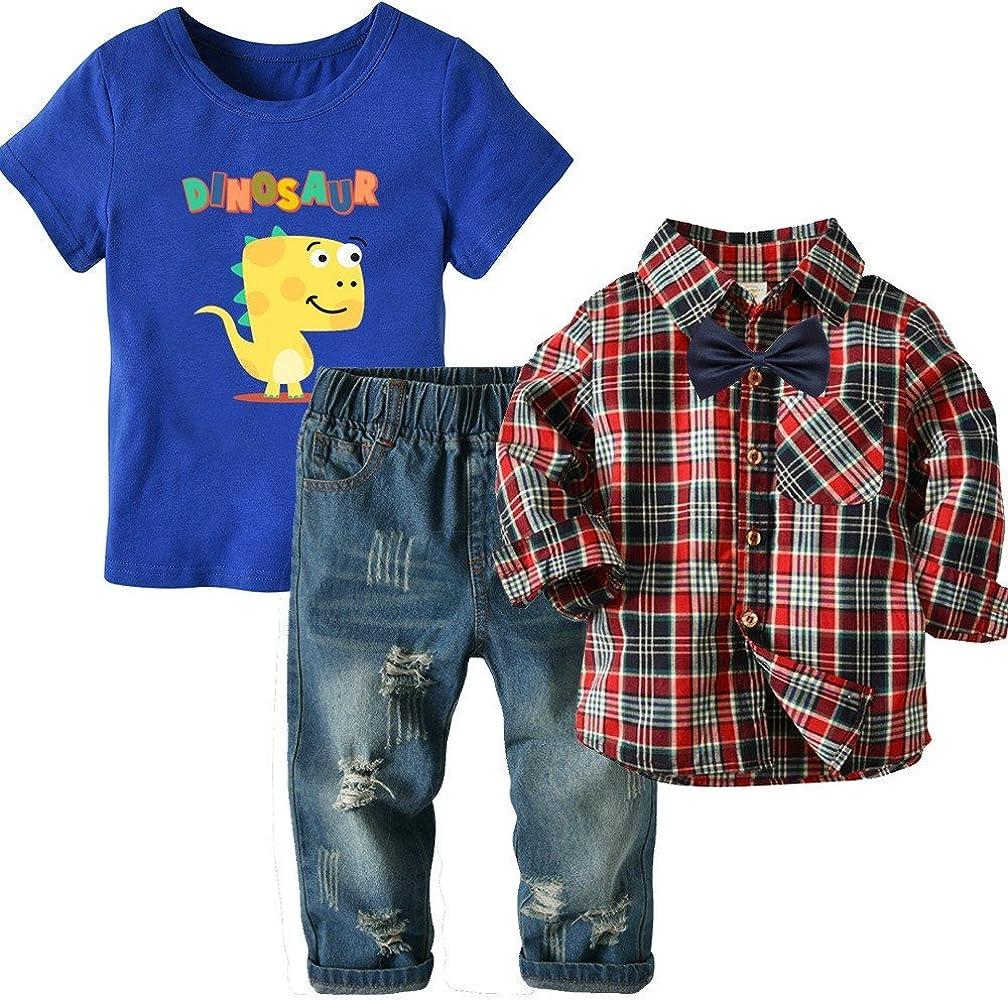 Camisa de Manga Larga con Cuadros de niño Camisa de Cuadros con Pantalones Vaqueros Camisa de Hombre con Tesoros de Tres Piezas, 90 cm: Amazon.es: Ropa y accesorios