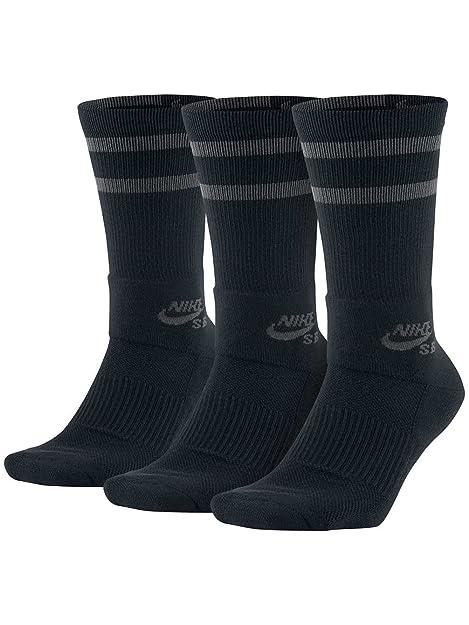 best sneakers 48adb 9ed15 NIKE 3PK SB Crew Skate Socks Black Anthracite Size S