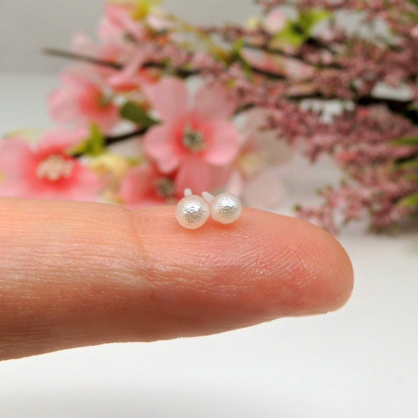 Tiny 3mm Off White Simulated Cotton Pearl Earrings on Plastic Posts for Metal Sensitive