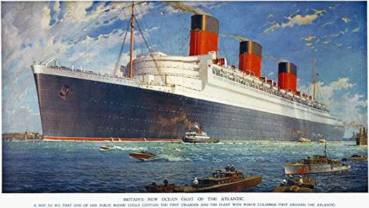 "14/"" Print Queen Mary New York Cunard Ocean Liner Marine Painting Art Print"