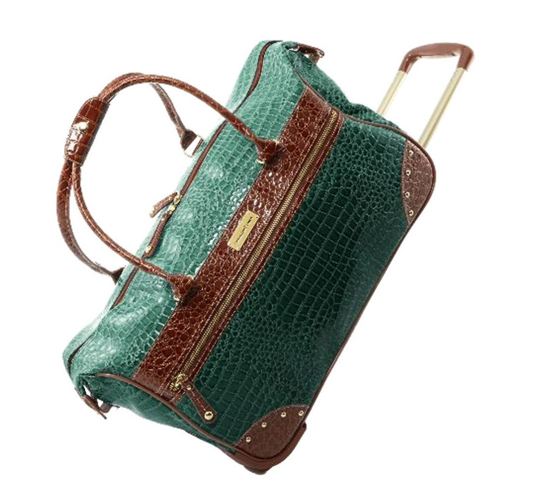 Samantha Brown Classic Croco-Embossed Wheeled Weekender Bag - Seaglass Green by Samantha Brown