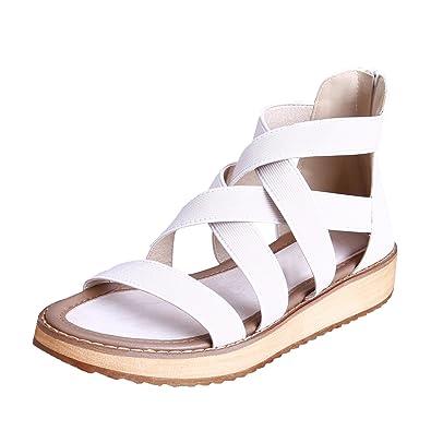 e43f3464fc6 Smilun Lady s Roman Sandal Beach Vacation Sandals Shoes Flat Gladiator  Sandals Roman Sandal Shoes Flip Flops