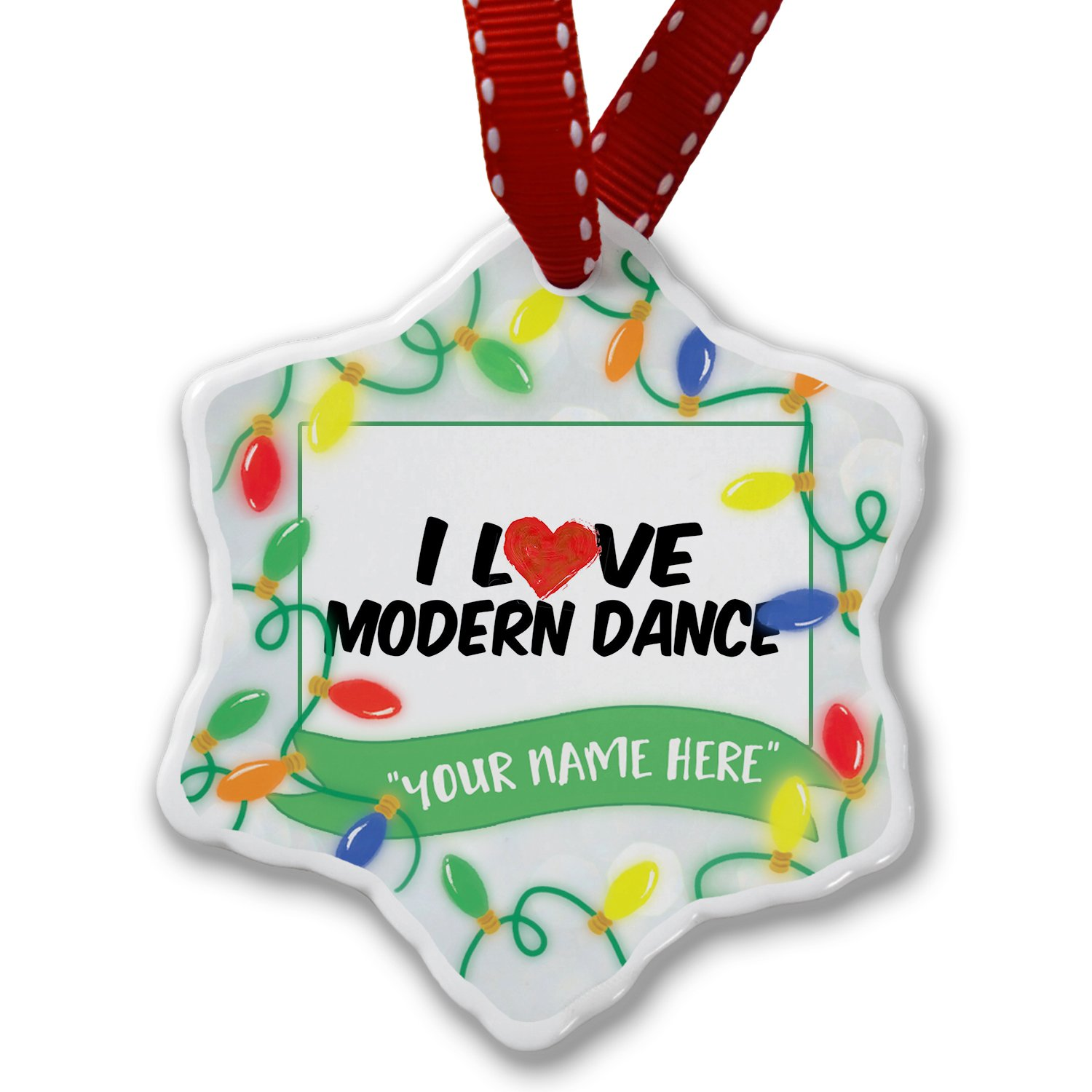 Personalized Name Christmas Ornament, I Love Modern Dance NEONBLOND