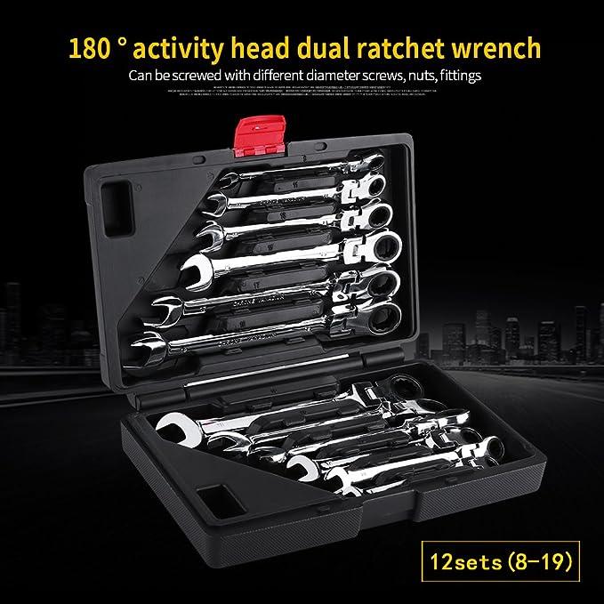 Juego de llaves de tuerca juego de 8 19 mm para coche con caja 12 piezas combinadas de cabeza fija con llave