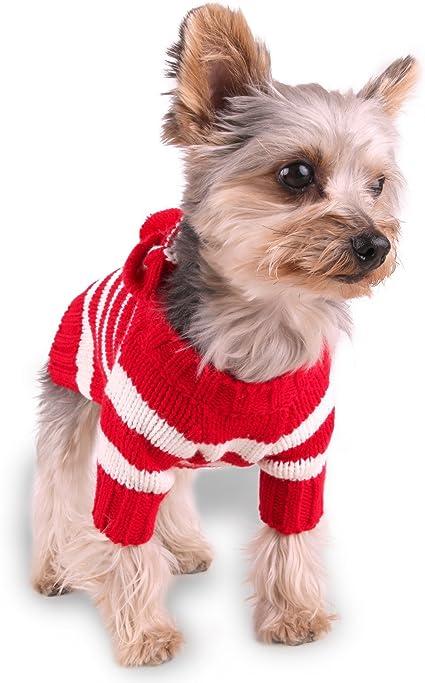 Stinky G Burgundy Stripe Dog Hoodie Sweater