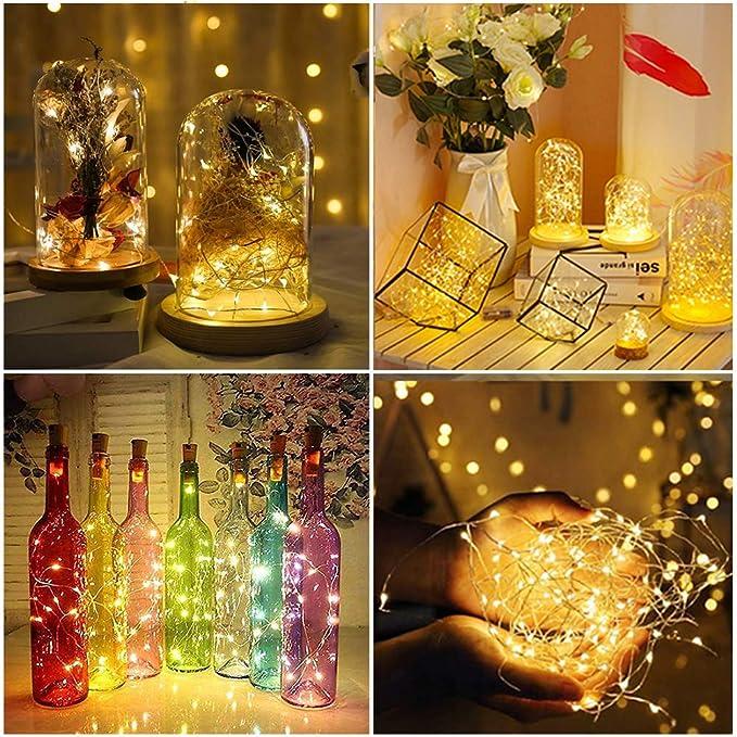 Nurkoo 12 Piezas Botella Luz 2M 20 LED Luces de hadas para botella LED Luces de hadas blancas cálidas Botella de vino Alambre de cobre, Funciona con ...