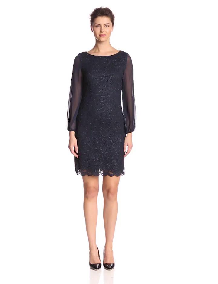 Jessica Howard Women's Sheer Sleeve Shift Dress, Navy, 14