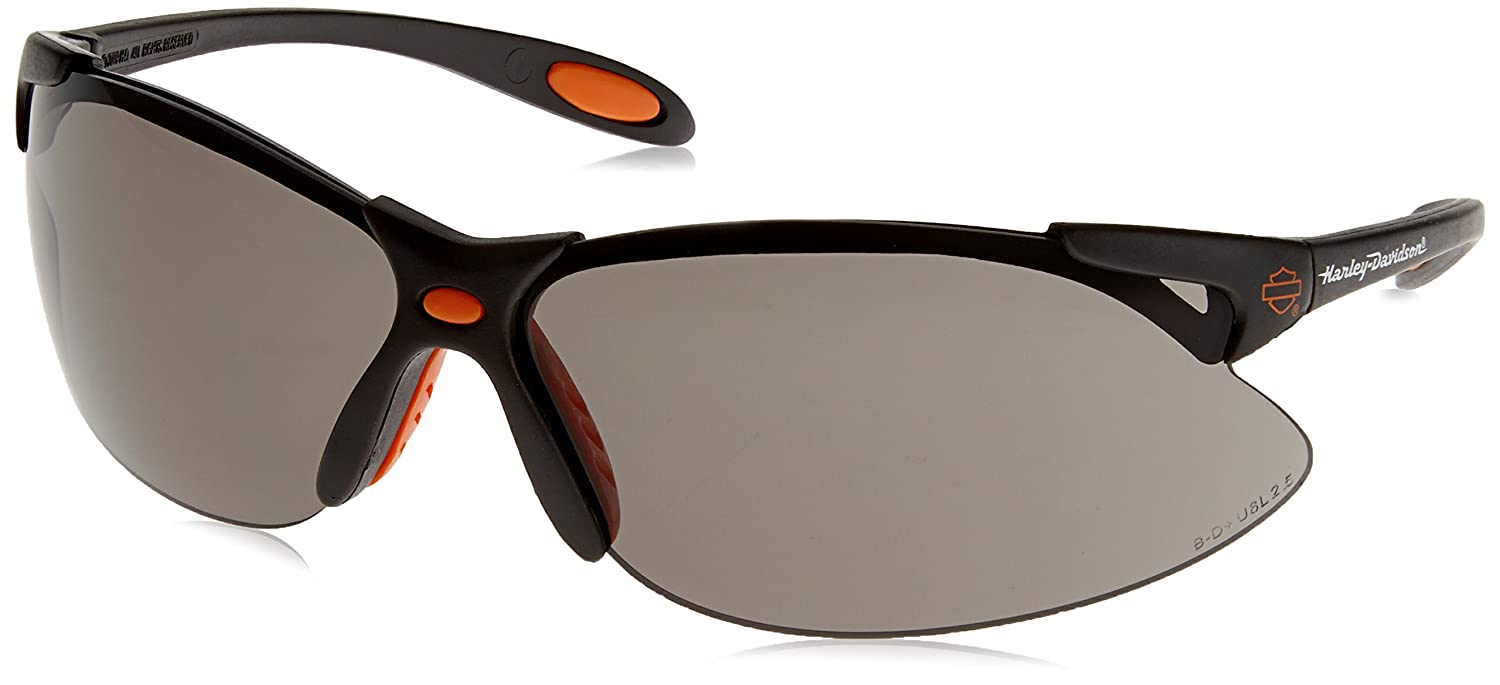 afda657c64f Harley-Davidson HD1201 Safety Glasses with Black Frame and TSR Gray Tint  Hardcoat Lens - - Amazon.com