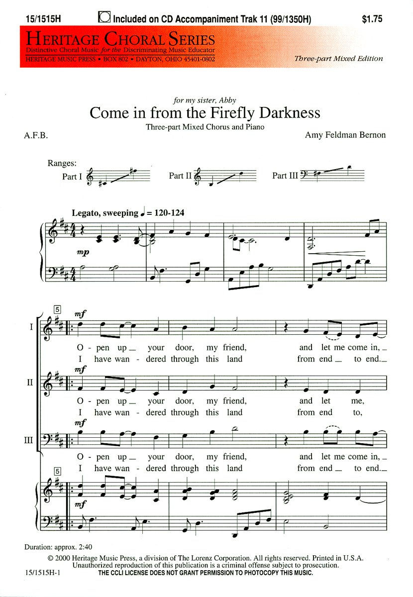 Read Online Come in from the Firefly Darkness (Educational Octavo, Three-part mixed, Piano) ebook