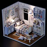 CoscosX DIY Doll House, Mini Dolls House With LED Furniture Kit