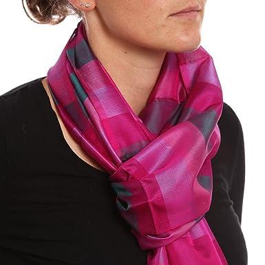 Echarpe en soie violette rayée  Amazon.fr  Vêtements et accessoires 05edc7146c5d