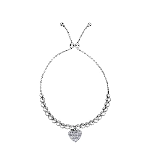 bdb1c4982277 Amazon.com  Sterling Silver Beads And CZ Heart Charm Element ...