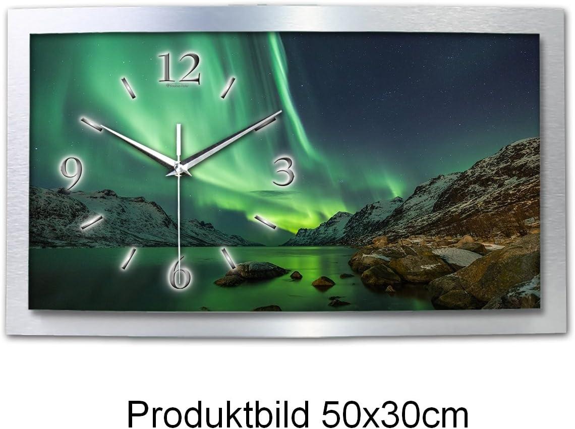 50x30cm Kreative Feder Wanduhr Polarlicht Naturwunder 3D XXL Designer leise Funk Motiv Funkuhr Wandbild modernes Design WAA054FL