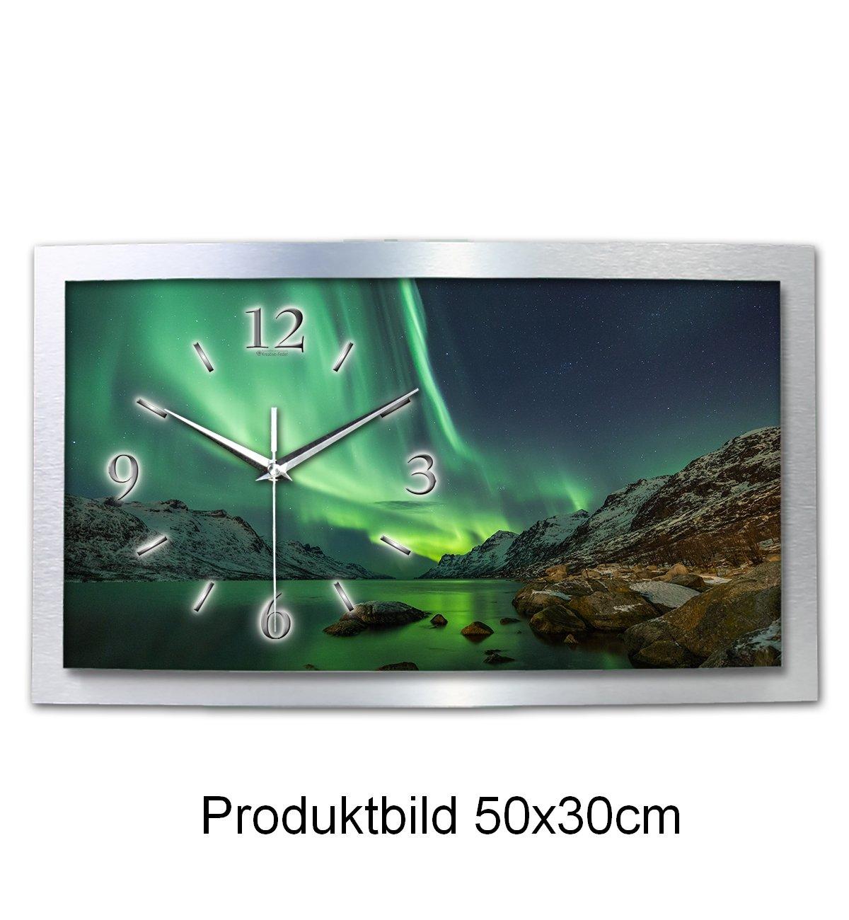 Wanduhr Polarlicht Naturwunder 3D XXL Designer leise Funk Wandbild Motiv Funkuhr Wandbild Funk modernes Design WAA054FL Kreative Feder (80x40cm) 9dad7c