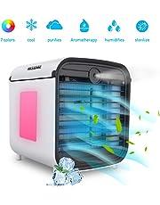 Mobile Klimaanlage Klein, Hisome 4 In 1 KlimageräTe Ventilator Luftbefeuchter Luftreiniger Aromatherapie USB Mini PersöNlicher LuftküHler 3 Geschwindigkeiten 7 Farben LED FüR Home Office Draussen
