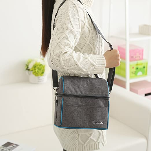 Amazon.com: Baling Gray Blue Washable Oxford Cloth Cooler Bag Insulated Lunch Bag Tote Shoulder Bags for Work or Picnic: Kitchen & Dining