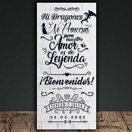 Decoración Boda | Cartel Boda Dragones y Princesas | 70cm x 150cm