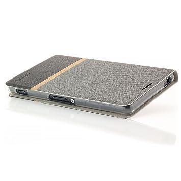 Zanasta Designs Funda Sony Xperia Z3 Cubierta Carcasa Flip Case Tapa Delantera con Billetera para Tarjetas Protectora, Cierre Abatible Gris