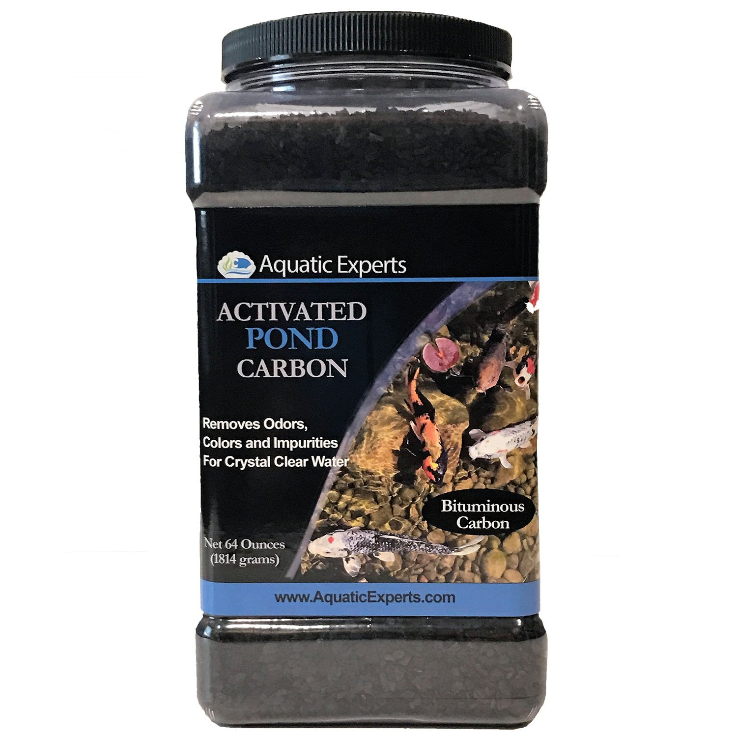 Aquatic Experts Activated Koi Pond Filter Carbon Charcoal - Remove odors and discoloration with 64 ounce bulk container for Outdoor Water Gardens by USA