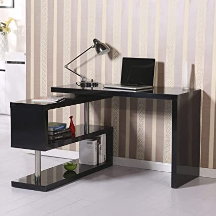H4home Modern Executive Black Computer PC Desk Home Office Corner Table  Study Workstation Book Shelf Storage