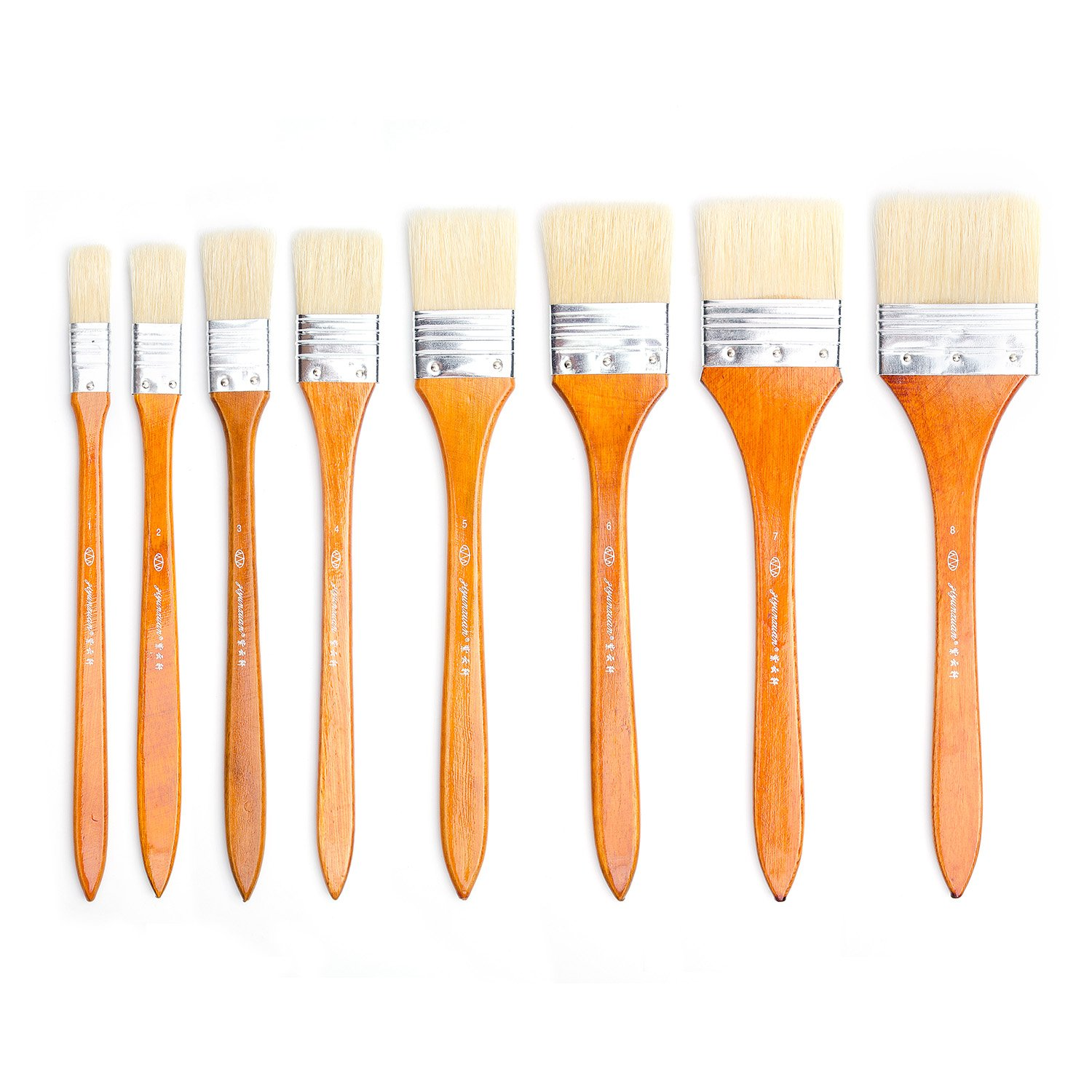 8 Pieces Large Flat Artist Bristle Paint brush Wash Brushes Set for Oil Water Color Acrylic Paint Lightwish