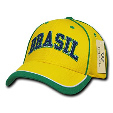 7511fbd9bd2488 Image Unavailable. Image not available for. Color: Brazil Brazilian Soccer  Dri Mesh World Cup Fit Baseball Ball Hat Cap