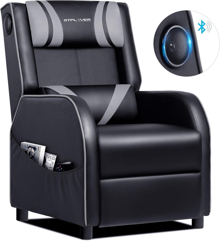GTPLAYER Sillón Gaming con Altavoz Bluetooth Relax Reclinable Individual Sofá Cuero Gamer de Cine en Casa Respaldo Escabel Ajustable Gris