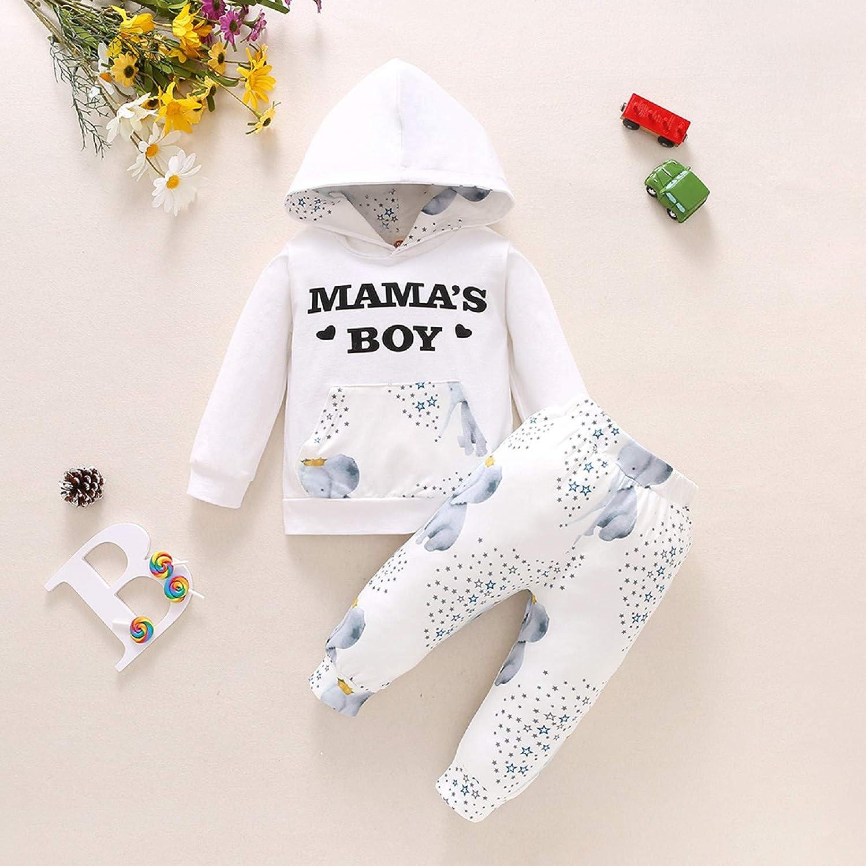 Homeriy 2pcs Newborn Baby Boy Clothes Outfits Long Sleeve Hooded Shirt Pants