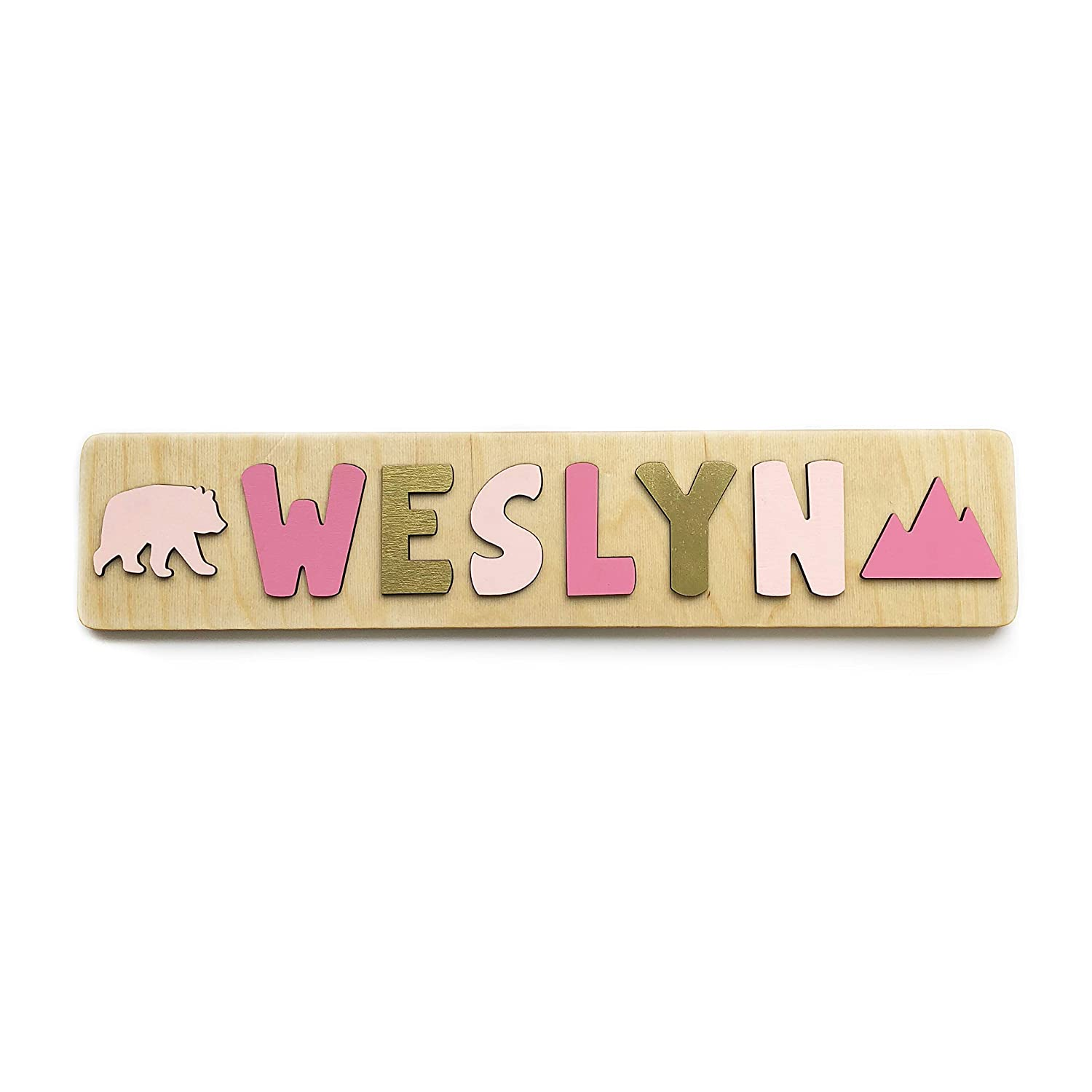 B07KJWRGVN Personalized Wooden Name Puzzle for Toddler Girls, Christmas or Birthday Gift for One and Two Year Olds, Handmade in the USA by Page Brook Market 71yGFhRhrsL