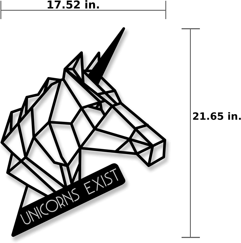 Ada Home D/écor MWAB1051 Unicorn Metal Wall Art 17.52 x 21.65 Black