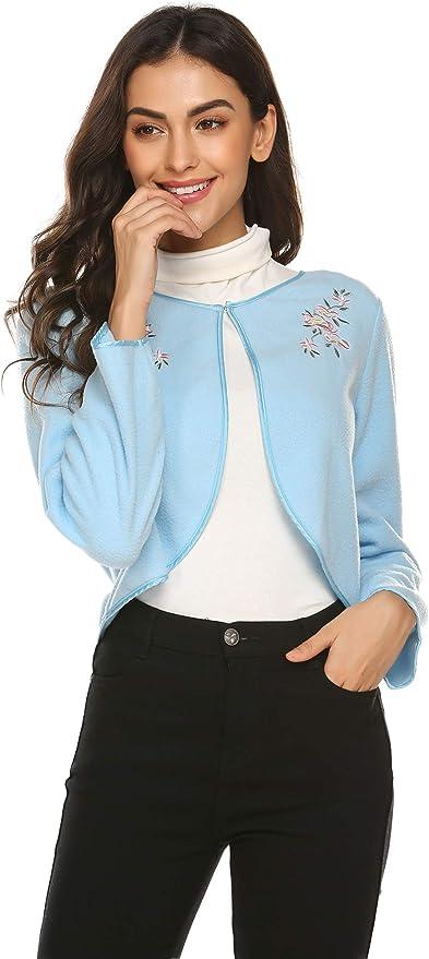 Ekouaer Basic Solid Long Sleeve Bed Jacket Open Front Cardigan Soft Robe Nightwear (Blue, Medium)