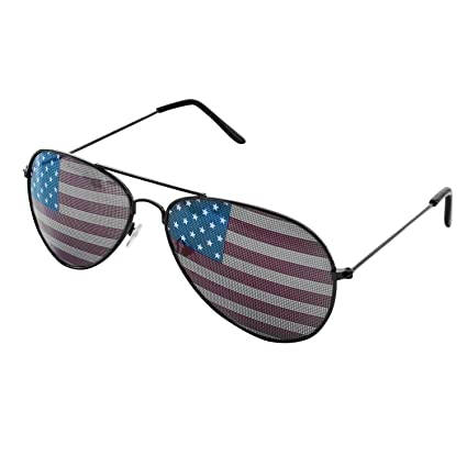 c0d026b25c Super Z Outlet American USA Flag Design Metal Frame Aviator Unisex  Sunglasses with Print Patterned Lens