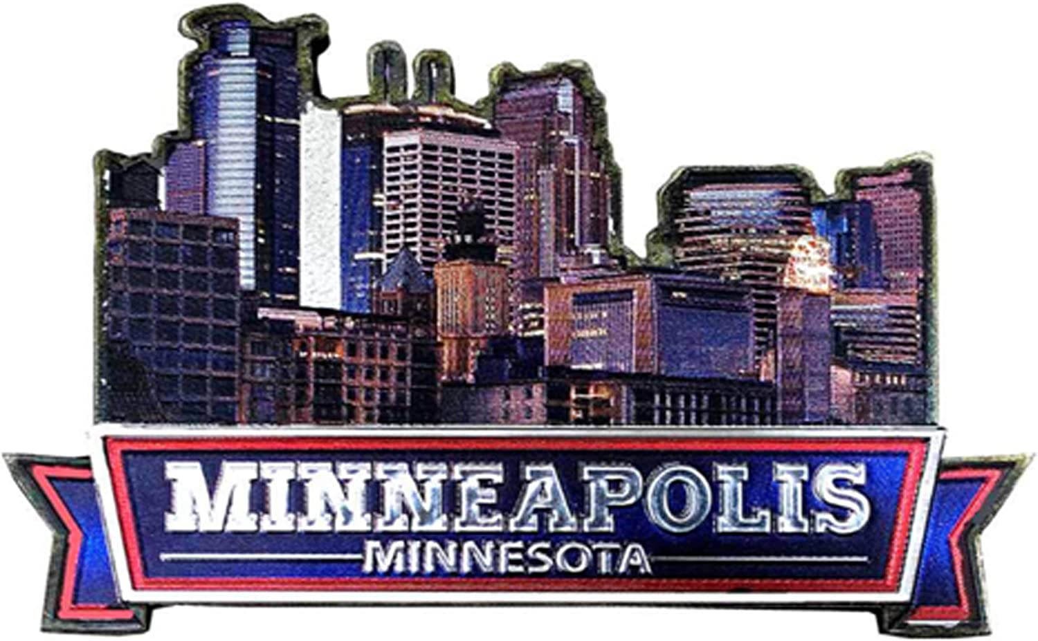 Minneapolis City of Minnesota State Skyline Souvenir Gorgeous Cityscape Refrigerator Picture Magnet Foil