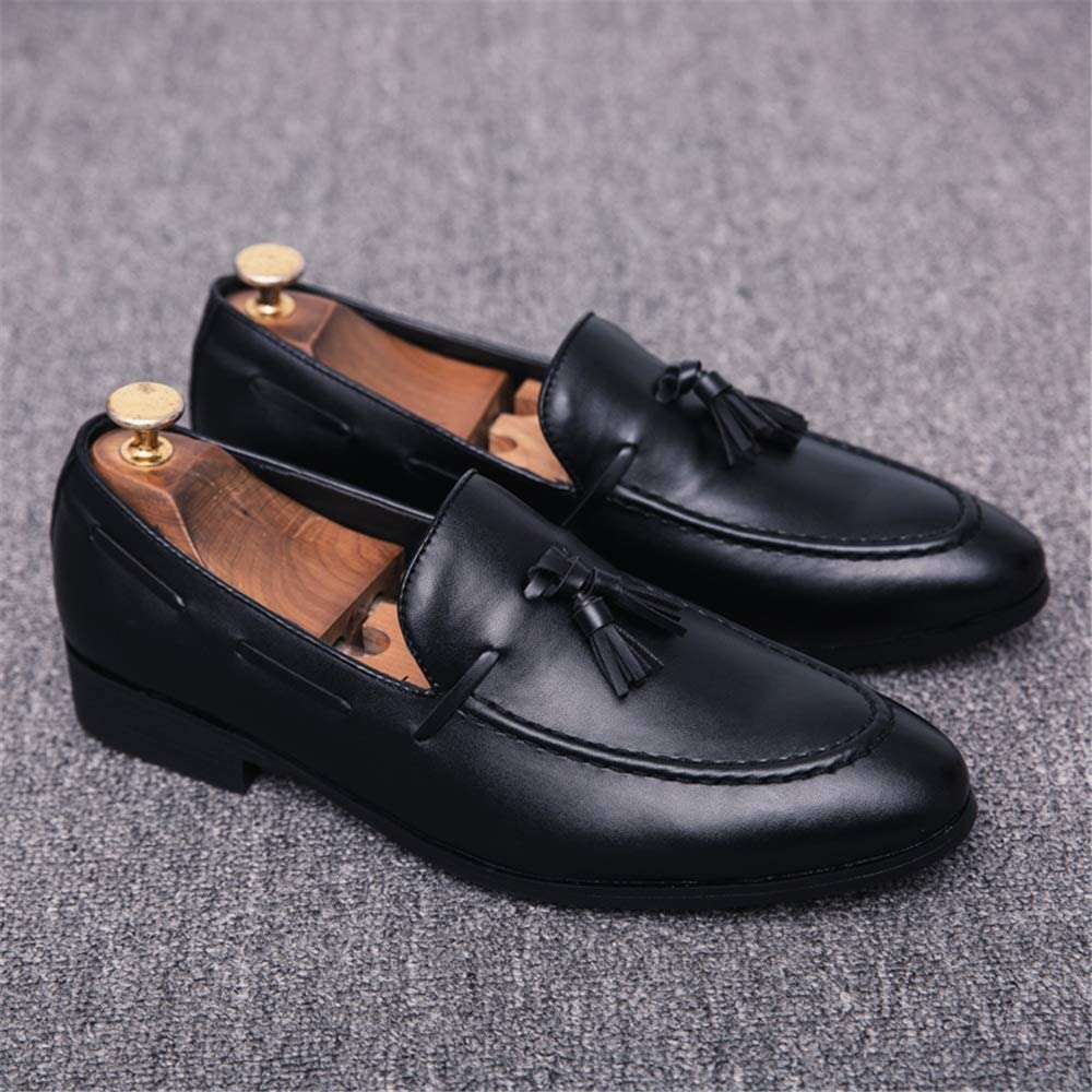 TongLing Mens Fashion Oxford Casual Classic Tassel Comfortable Low Top PU Leather Formal Shoes Dress Shoes