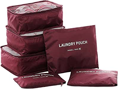 Packing Cubes,Travel Luggage Organizer-3 Travel Cubes + 3 Pouches (Wine Red)