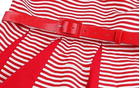 8cc86ff938f0 Bestfort Vintage Kleider Damen 50er Retro Mode Rundhals Cocktailkleider  Knielang Ärmellos Festliche Rockabilly Kleid mit Gürtel Gestreiftes Rot   Amazon.de  ...