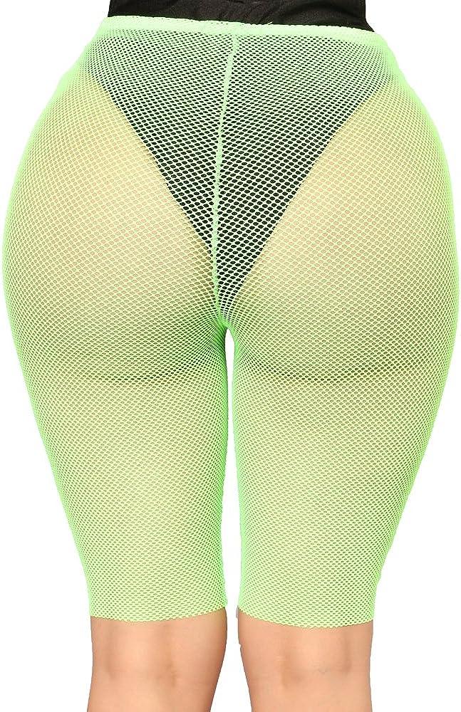 RUEWEY Women See Throug Mesh Fishnet Swimsuit Cover up Pants Bikini Bottom Cover up Shorts