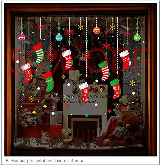 2020 Christmas Window Ornament Amazon.com: ONDY Christmas Garter Window Glass Decoration Stickers