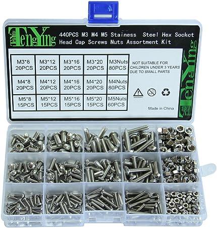 CSLU 440pcs M3//M4//M5 Screw and Nuts Bolts Carbon Steel Hex Socket Head Cap Bolts and Nuts Assortment Set