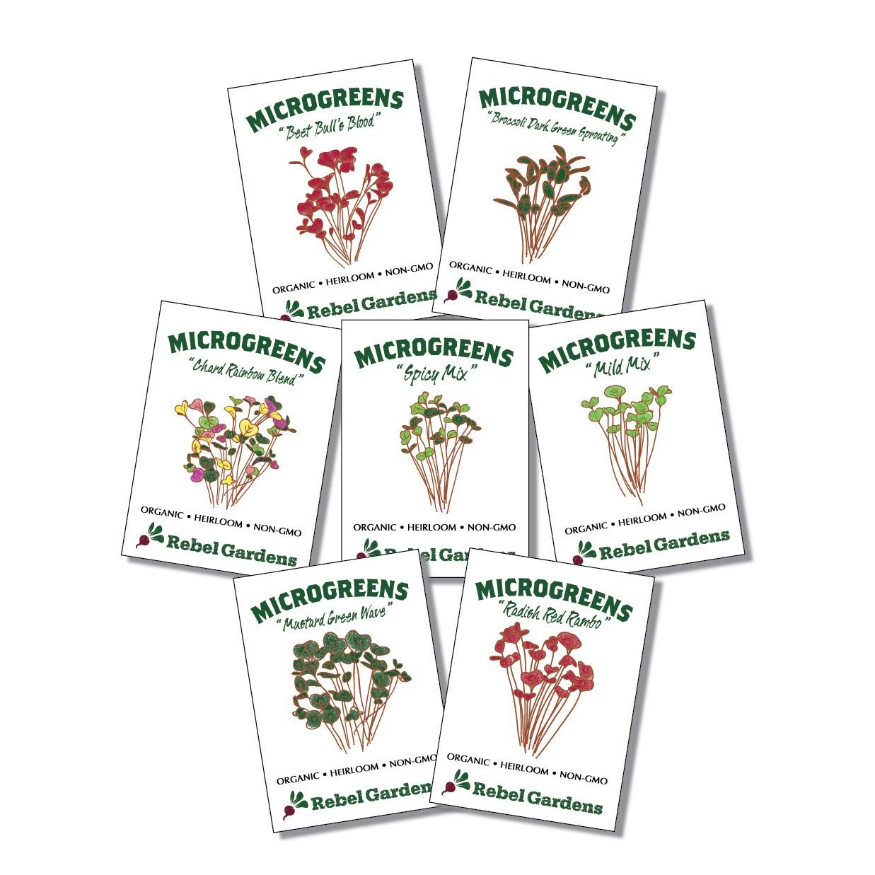 Microgreen Seeds Organic Mix - Microgreens Growing Kit - 7 Non GMO Varieties - Broccoli Raddish Mild Mix Spicy Mix and More