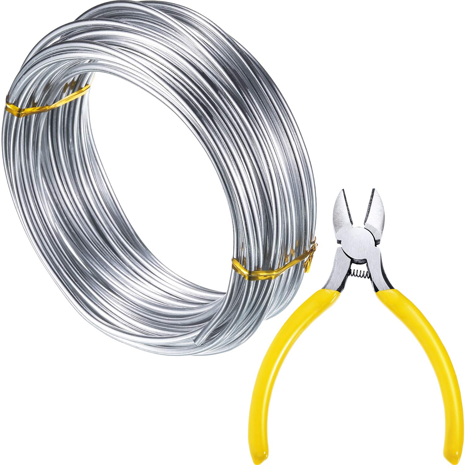 Tatuo 10 m Silver Aluminum Wire (3 mm), DIY Craft Wire, Soft and Bendable, Add a Round-Nosed Plier to Cut