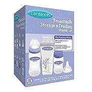 Lansinoh Breastmilk Storage & Feeding Set With 2-5 Ounce Bottles, 2-8 Ounce Bottles, 2 Slow Flow Nipples, 2 Medium Flow Nipples, 4 Bottle Caps & Collars, 4 Storage Caps, 30-6 Ounce Milk Storage Bags