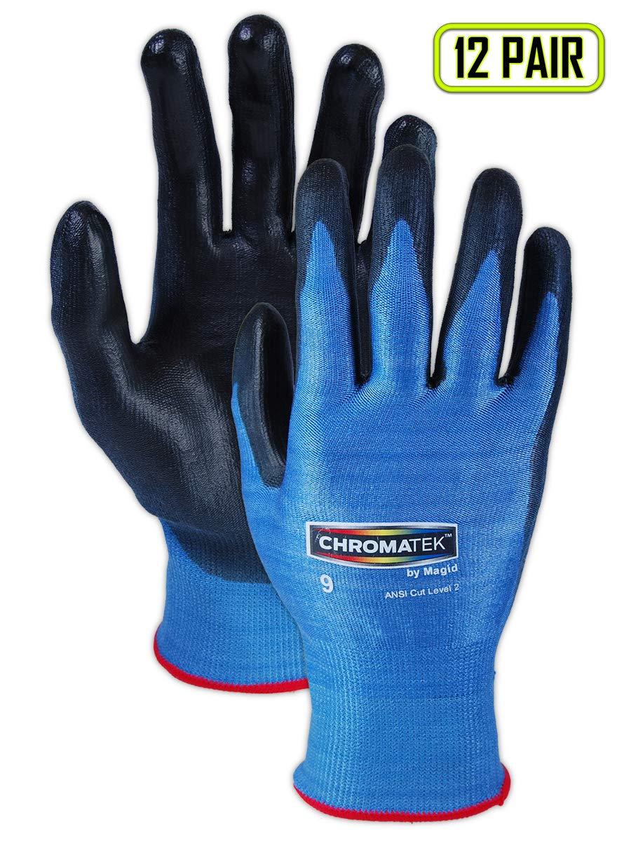 Magid CT500 ChromaTek HPPE Polyurethane Palm Coated Glove with Knit Wrist Cuff, Work, Size 10, Black/Blue (Case of 12) by Magid Glove & Safety  B00BAZUBPI